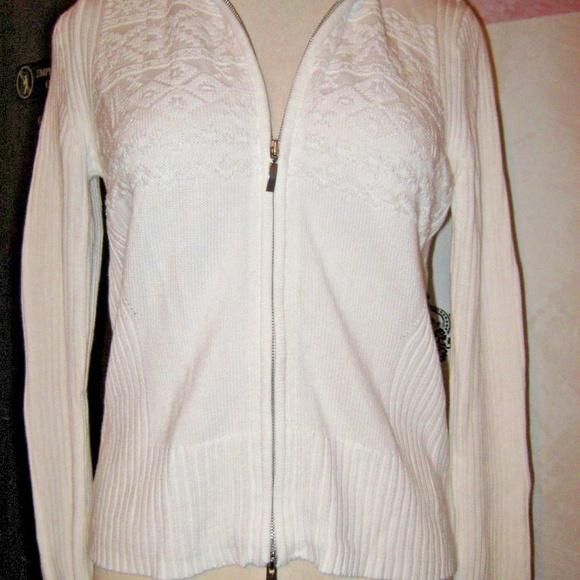 4274e42627 EDDIE BAUER Full Zip Stretch Knit Rib Sweater L